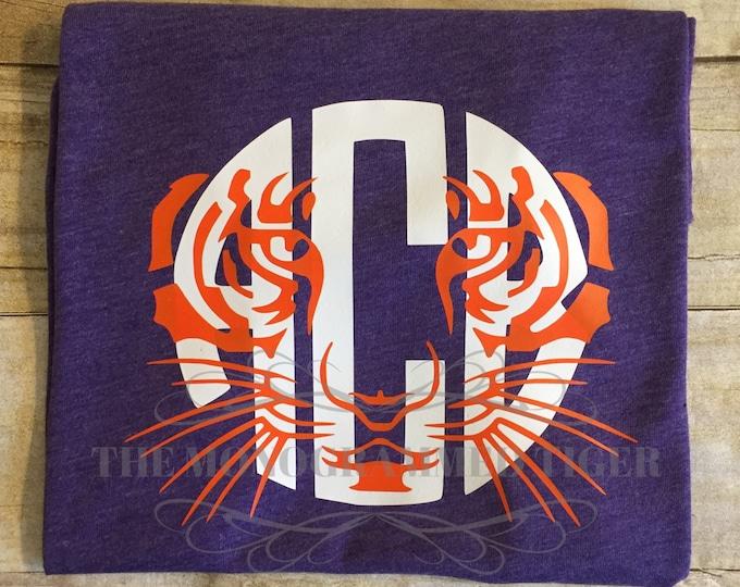 Orange and Purple  Tiger Face Monogrammed Tee