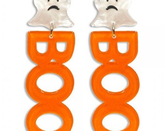 """Orange Glittered Resin """"Boo"""" Drop Earrings Featuring White Resin Ghost Studs Approximately 2.75"""" Long"""