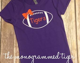 Clemson Girls Tiger Football Shirt, Orange and Purple
