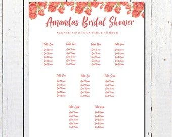 shower seating chart etsy