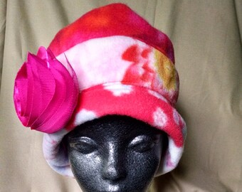 Pink fleece bucket hat