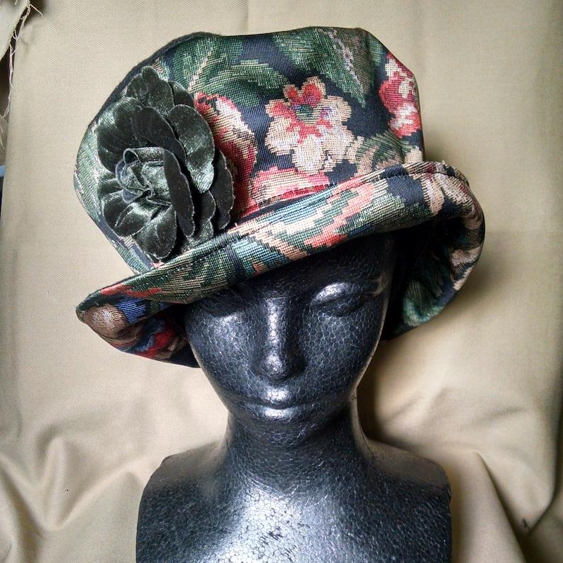 75fb57b988cda Bohemian hat, Edwardian hat, Downton Abbey hat, 1920's hat, Floral hat,  Bucket hat