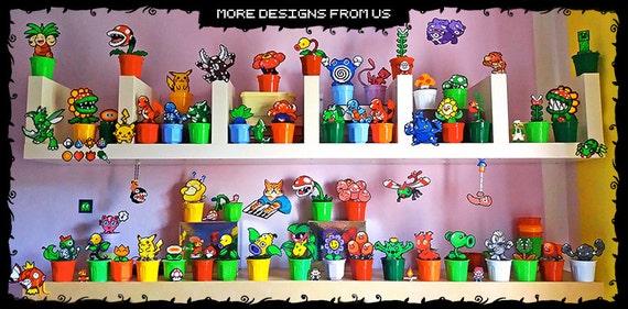 Fleur Super Mario Classique Blanc En Pot De Pixel Art Perles Hama 47 De Feu Fait Main 8 Bit Décor Végétal