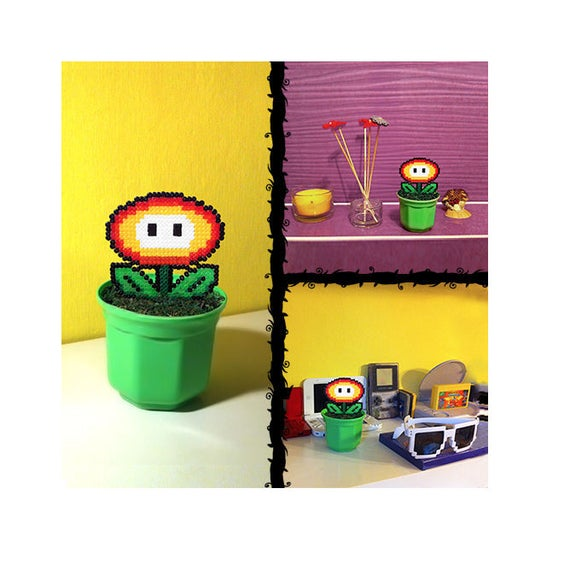 Fire Flower Super Mario In Pot Pixel Art Beads Hama 55 Handmade 8 Bit Plant Decoration Artificial Flower Birthday Gift