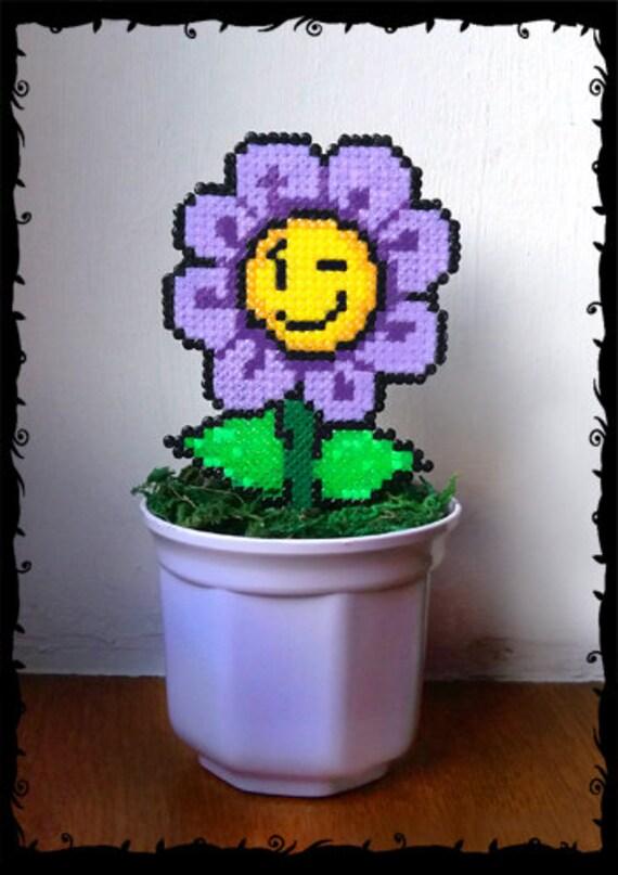 Power Flower Super Mario In Plant Pot Pixel Art Beads Hama 61 Handmade 8 Bit Plant Decoration