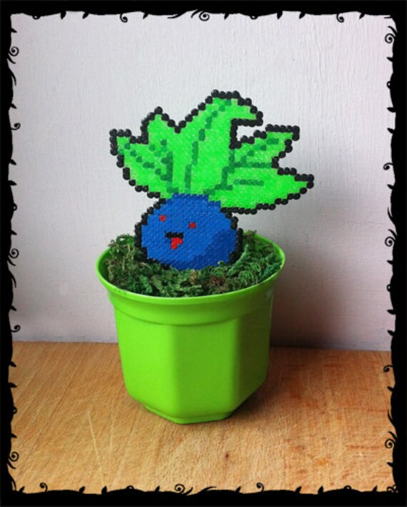 Oddish Pokemon En Pot Pixel Art Perles Hama 6 Fait Main 8 Bit Décor Végétal