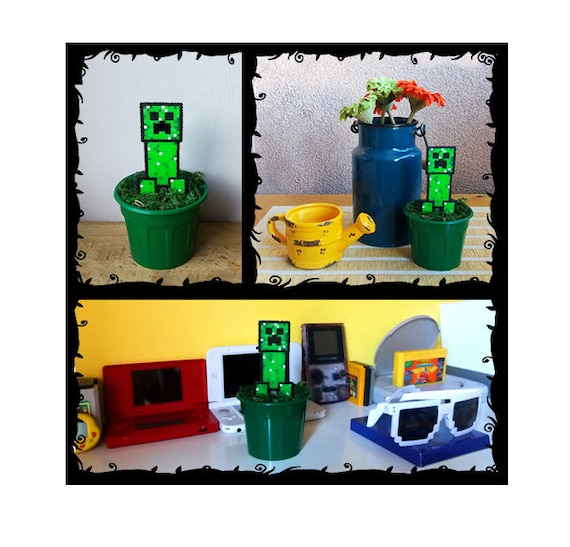 Liane De Minecraft à Plante Pot Pixel Art Perles Hama 61 Fait Main 8 Bit Décoration Oldschool Jeu Rare Cadeau Maison Decor Plante