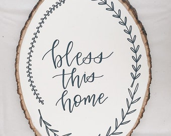 Painted Bless This Home Wood Plaque