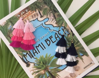 """The """"Raleigh"""": Ultra-Light Cabana Stripe Blue and White Stacked / Tiered Tassel Earring, Ombre Pink"""