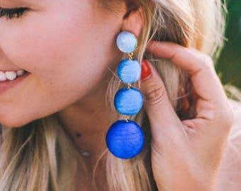 """The Lido: A Blue Ombre """"Bon Bon"""" Style Pom Pom Earring (Ships Immediately!)"""