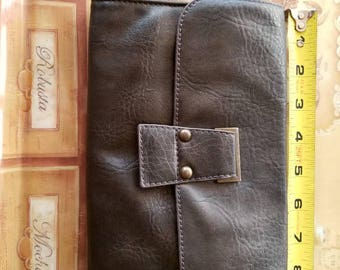 Vintage genuine leather large wallet handbag clutch.