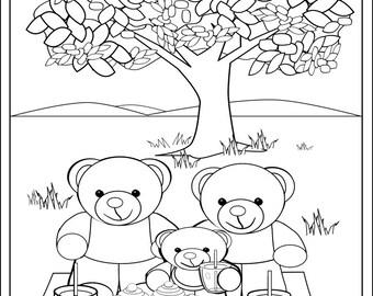 Teddy bear coloring | Etsy