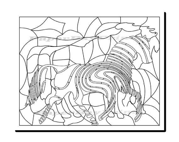 Colorear página con caballos para adultos o niños para | Etsy