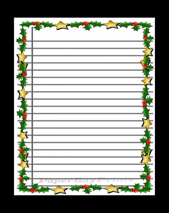 printable lined scrapbook paper with christmas border