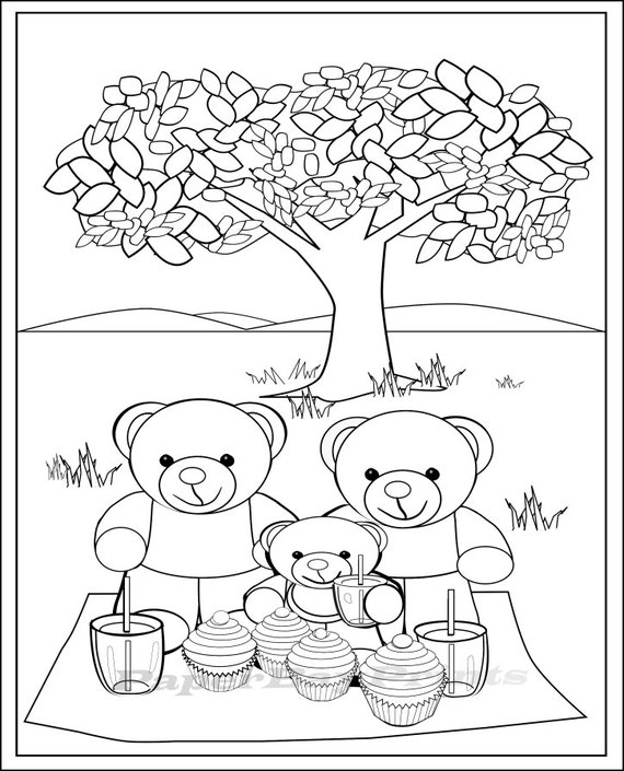 Teddy Bear Picnic Coloring Page, Coloring Pages for Kids. Print and Colour,  Printable Art to Color, Teddy Bear Picture, Instant Download.