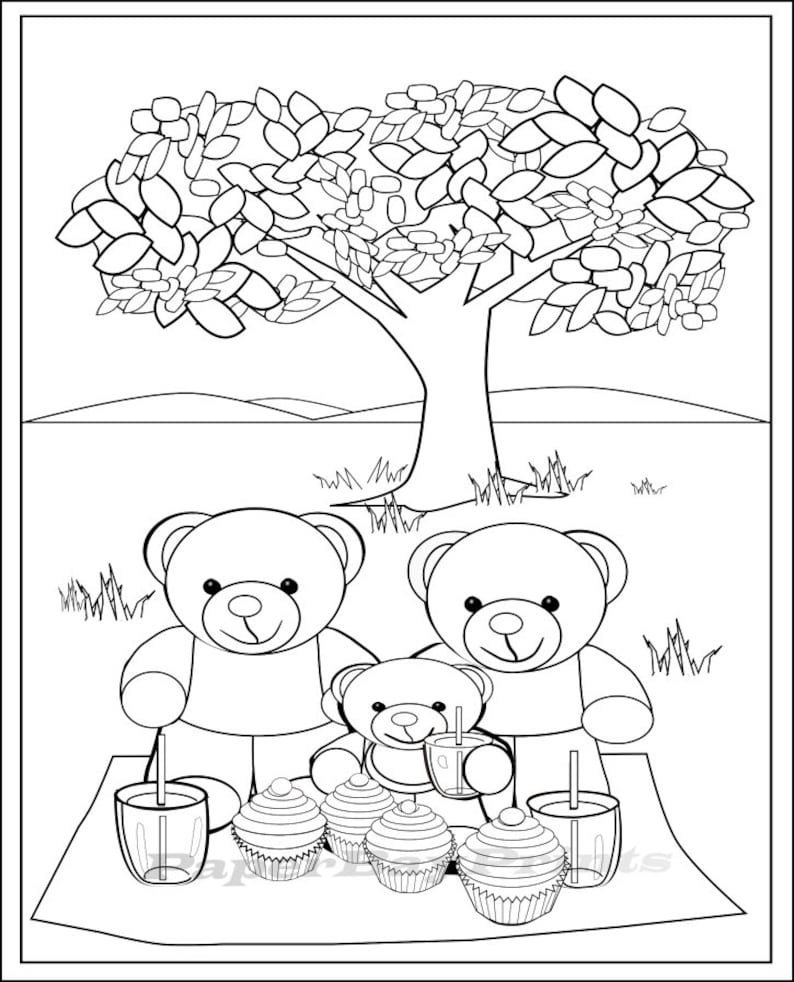This is an image of Bewitching Picnic Coloring Page