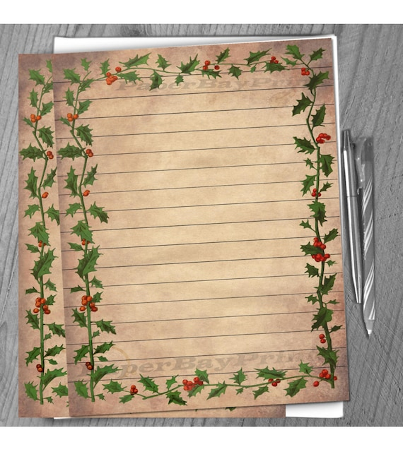 printable writing paper vintage christmas holly border old etsy