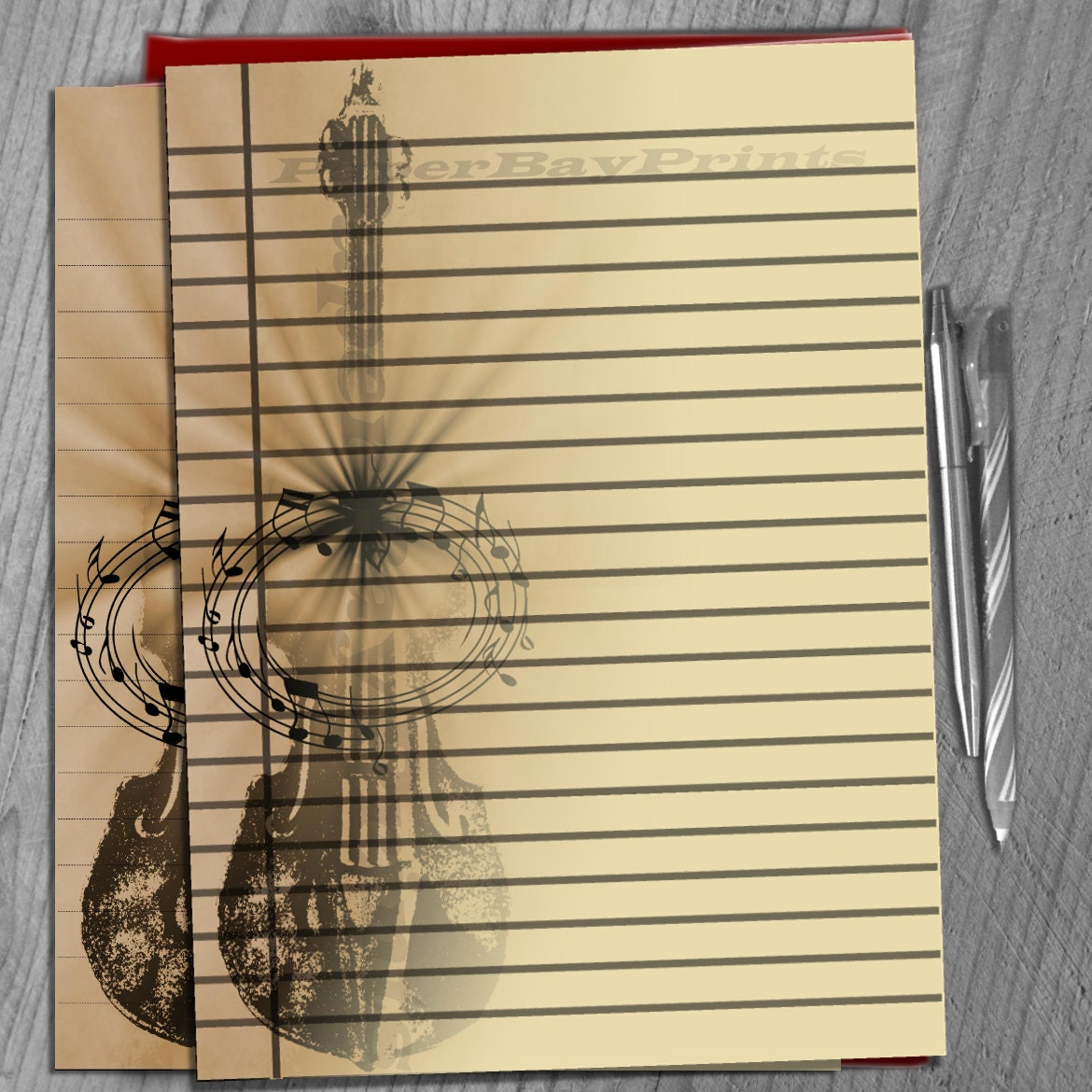 Printable Writing Paper Lined Paper Background Retro Violin Etsy