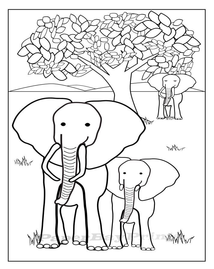 Colorear Para Imprimible Dibujo Página Etsy Niños Elefante qw8I6xUn