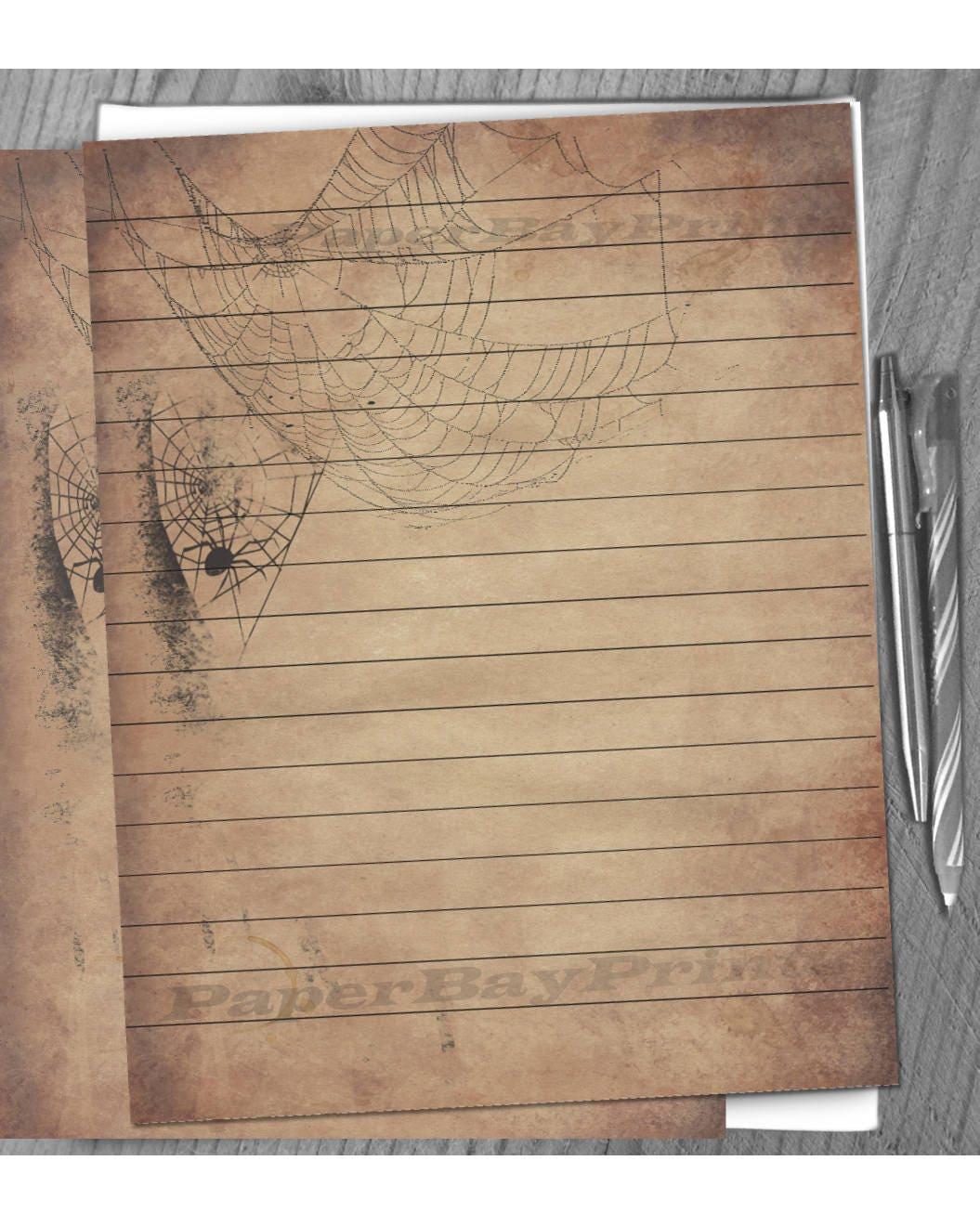 Printable Writing Paper Vintage Halloween Spider Web Border Etsy