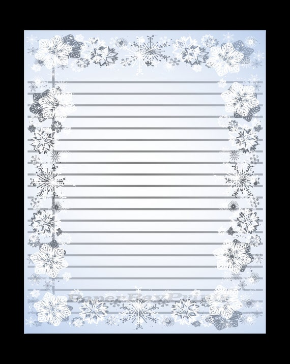 Printable Lined Paper With Snowflake Border Christmas Border Etsy