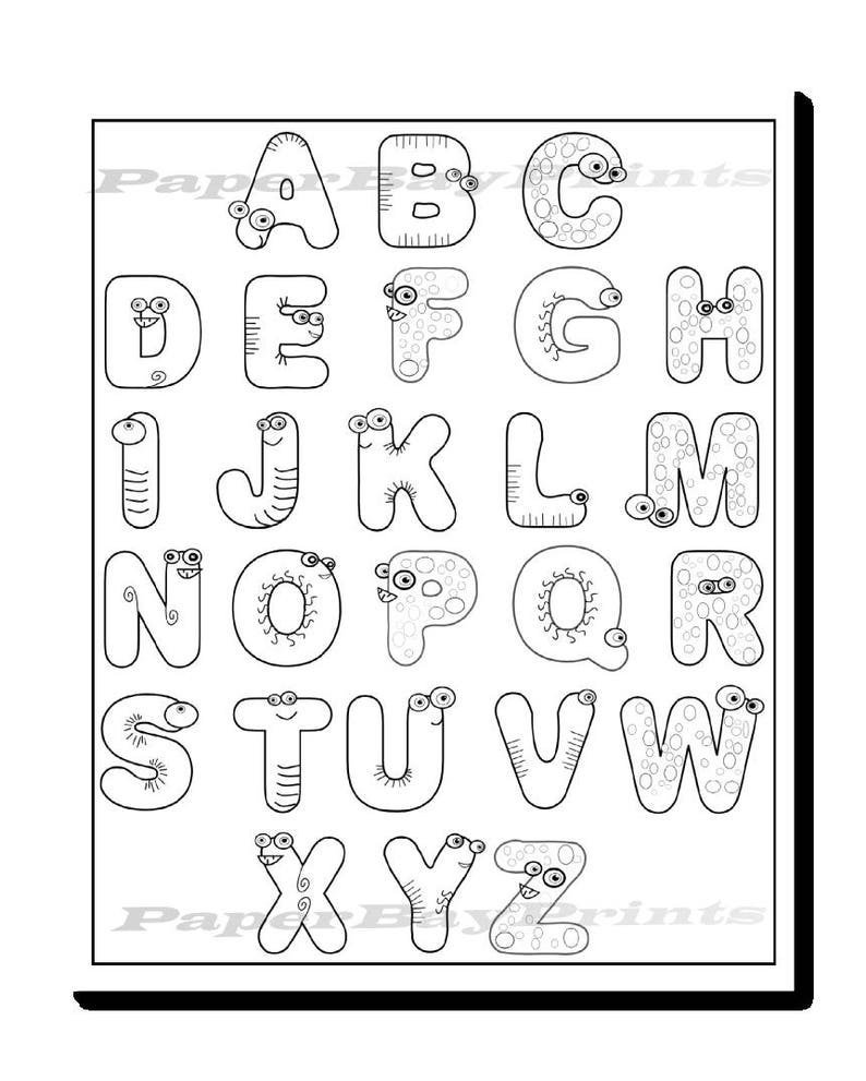 Alphabet coloring page for kids printable coloring page with fun monster letters instant download free 7 x 5 print included