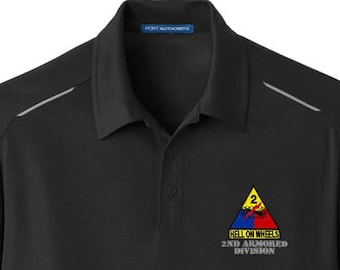 878696b11 Army 2nd Armored Division Embroidered Performance Golf Polo