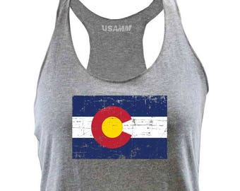 254370c829a81c Ladies Colorado State Flag Distressed Racerback Tank Top