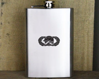 Transportation Branch US Army Veteran Soldier Groomsman Gift Leather Flask
