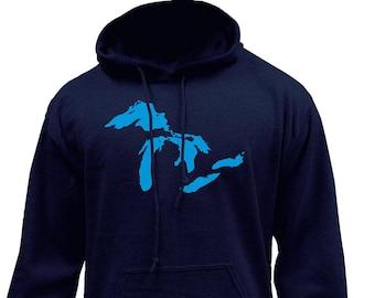 Great Lakes Mid-West Native Clean Water Pullover Hoodie Sweatshirt