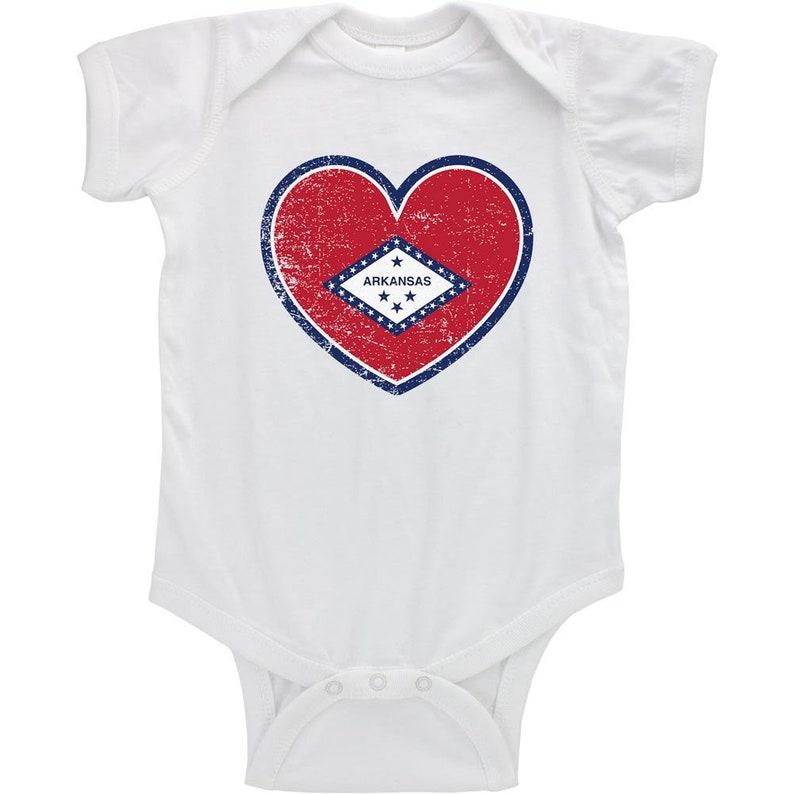 Arkansas State Heart Flag Distressed Infant Bodysuit