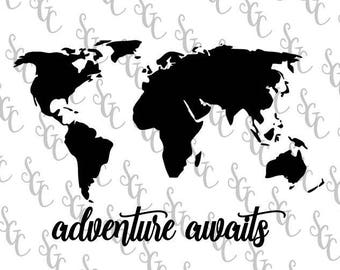 World map stencil etsy reusable stencil adventure awaits with world map many sizes to choose from gumiabroncs Gallery