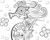 Sea Horse Adult Coloring ...