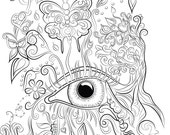 Eye design colouring page...