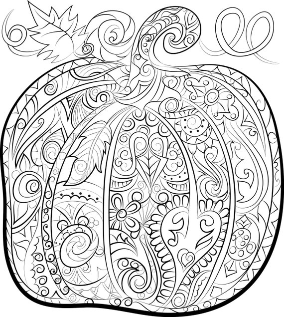 adult coloring pages download | Items similar to Pumpkin adult colouring page - Halloween ...