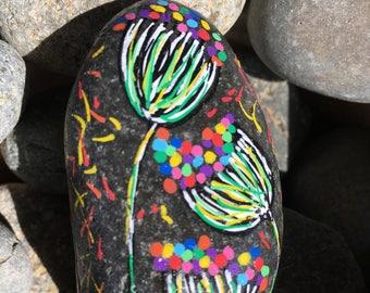 Rainbow Flowers Painted Rock