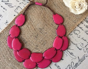 Hot pink statement necklace Tagua nut jewelry Huge oversized necklace Big oversized necklace Retirement gift for women Mother of the bride
