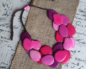 Tagua nut jewelry Pink statement necklace Big bold chunky necklaces Leather anniversary for women Jewelry for wedding Bridesmaids Bridal