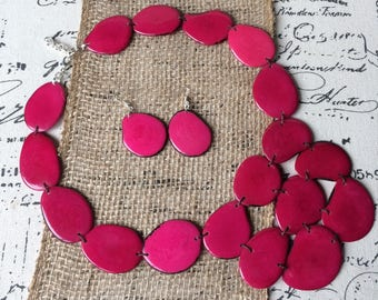 Hot pink statement necklace set Tagua nut jewelry Huge and oversized beaded necklace Big bold chunky necklace Mother of the groom jewelry