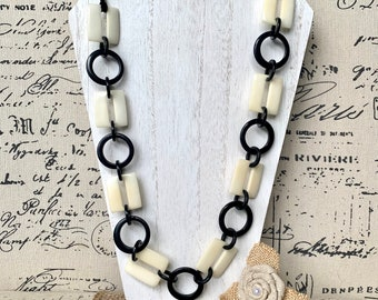 Black red and white fashion Tagua necklace Extra long adjustable beaded necklace Statement geometric jewelry Gifts from Ecuador Valentines