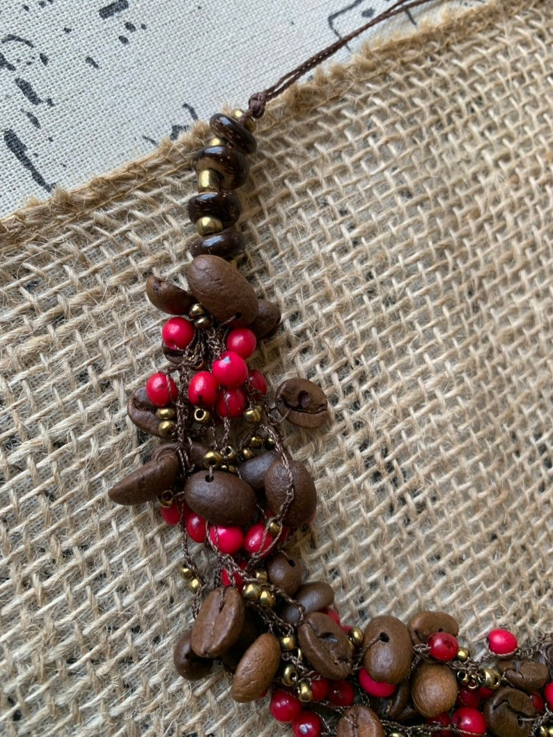 Multi strand statement necklace with coffee beans and coconut shell beads Anniversary gift for wife Unusual macrame bib Artisan handmade