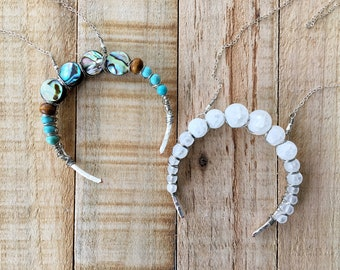 Handmade Crescent Moon Necklace,Horn Necklace,Boho Necklace,Wire Wrapped Jewelry,Turquoise,Abalone,Sterling Silver,White,Moon Necklace,Gypsy