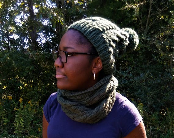 Forrest Green Cable knit hat and scarf set (CHOOSE YOUR COLOR)