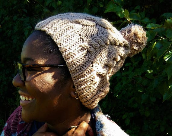 Taupe Cable Knit Pom Pom Beanie (CHOOSE YOUR COLORS)