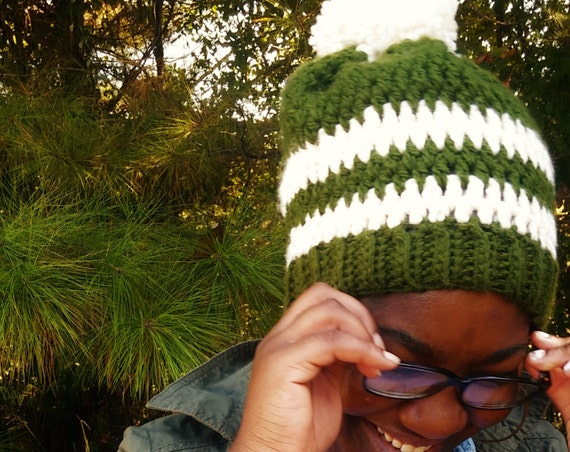 Forrest Green and Cream Chunky Pom Pom Beanie (CHOOSE YOUR COLORS)
