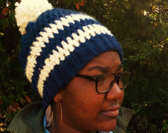 Navy Blue and Cream Chunky pom pom Beanie (CHOOSE YOUR COLORS)