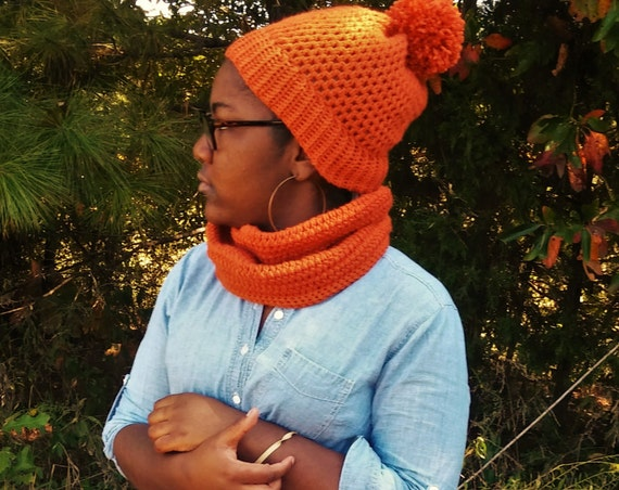 Autumn Orange Crochet Pom Pom Beanie and Infinity Scarf Set (CHOOSE YOUR COLORS)