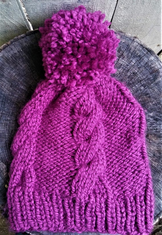 Fuchsia Chunky Large Pom Pom Cable Knit Beanie Hat (CHOOSE YOUR COLORS)