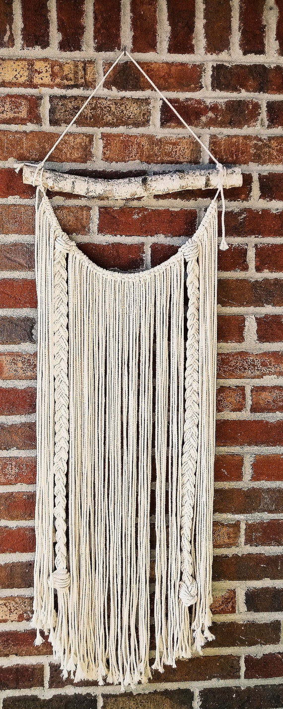 Long Macrame wall hanging on birchwood