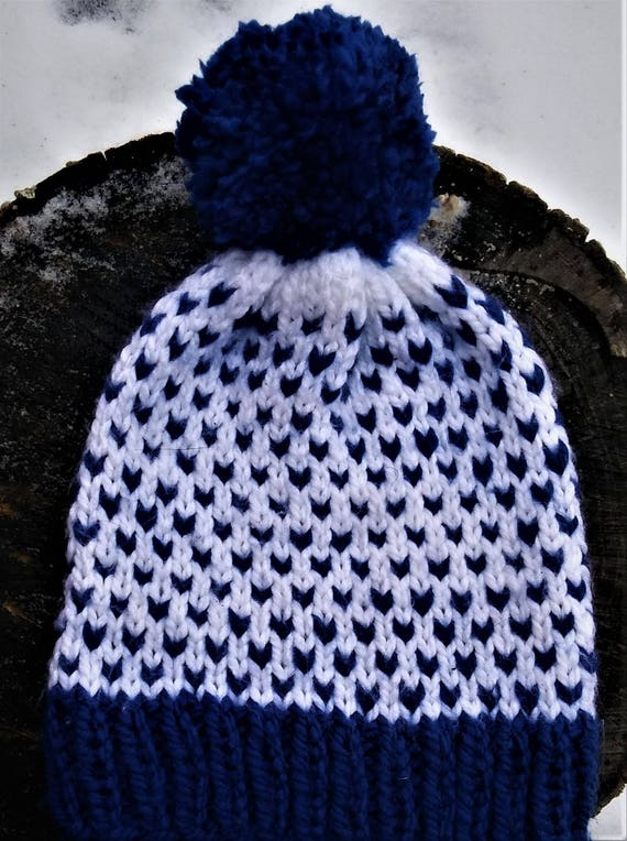 Royal Blue and White Chunky Knit Two Toned Fair Isle Pom Pom Beanie Hat (CHOOSE YOUR COLORS)